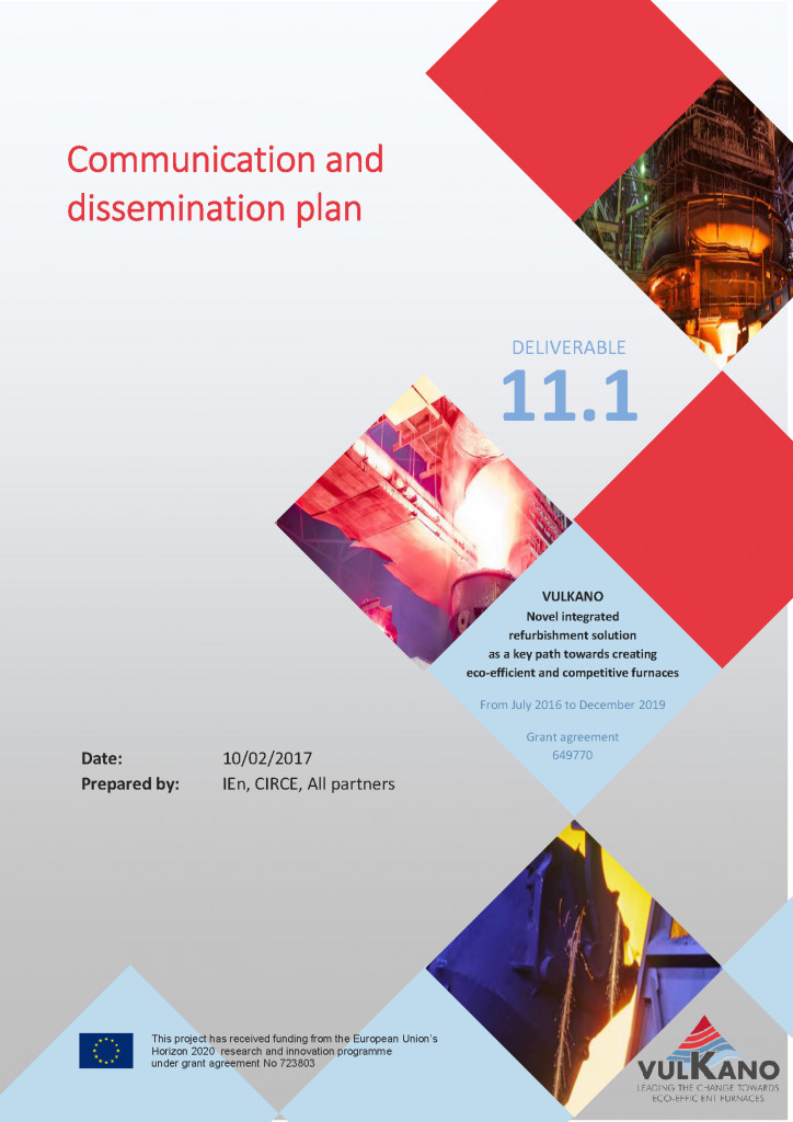 11 1 communication and dissemination plan vulkano for Dissemination plan template